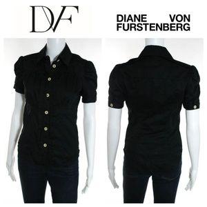 DVF Black Short Sleeve Button Front Top Shirt Sz 2
